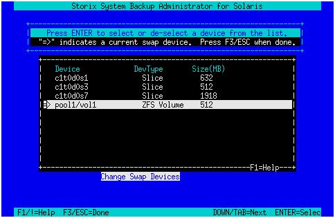 Configured Swap Devices